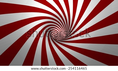 Hypnotic spiral or swirl making red and white background in 3D - stock photo