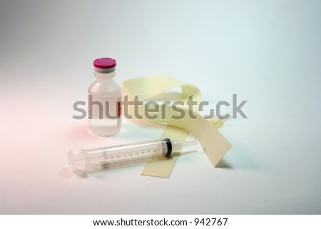 hypodermic syringe, tourniquet, and medicine bottle on clean white background. - stock photo