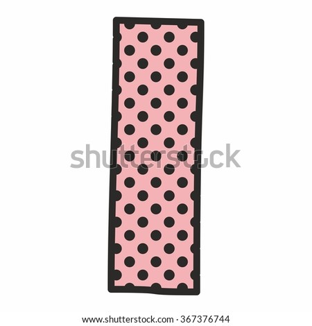 I Alphabet Letter With Black Polka Dots On Pink Background Isolated White