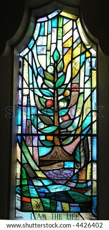 I am the Life Stained Glass Window - stock photo