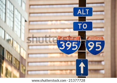 I-95 and I-395 road signs in downtown Baltimore, USA - stock photo