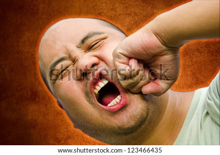 I bald head man is raging and beating up himself. He need anger management - stock photo