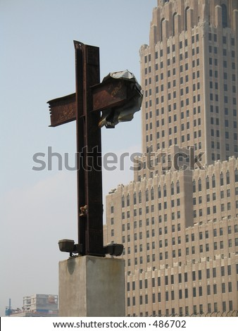 I-beam cross at World Trade Center site - stock photo