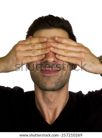 I donâ??t want to see this - Young man doesn't want to see something. - stock photo