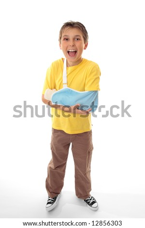I feel better now... Happy boy after being treated for his injuries by a medical professional. - stock photo