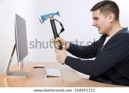 Threatening stock photos images pictures shutterstock for Crazy computer desk