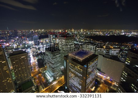 I hope Tokyo panoramic view of Tokyo Tower and Tokyo Sky Tree seen from big city Tokyo image Shinjuku high-rise buildings at the same time - stock photo