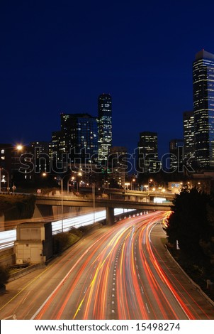 I-5 in Seattle at night