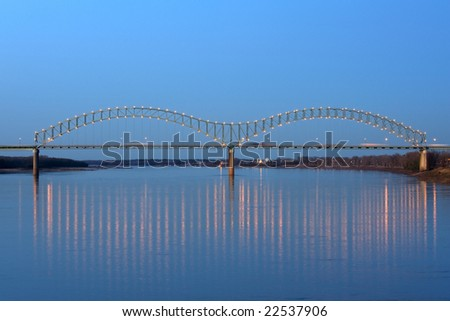 I-40 Interstate through Hernando de Soto bridge in Memphis, TN - stock photo