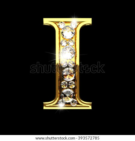 i isolated golden letters with diamonds on black