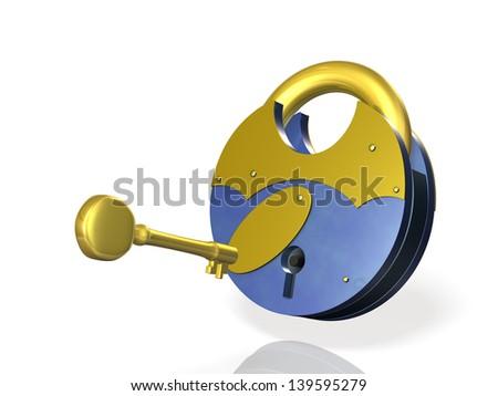 I lock the key. - stock photo