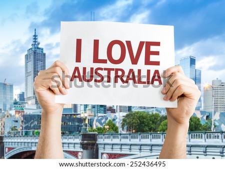 I Love Australia card with Melbourne background - stock photo
