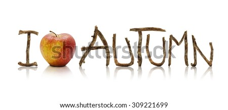 I Love Autumn words made from old wooden branches and an apple, isolated on a white background.