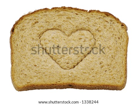 I love bread - A slice of whole wheat bread isolated on a white background - stock photo