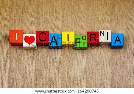 I Love California, USA, sign series for American states. California, home to San Francisco, Sacramento, Big Sur, Death Valley, Sierra Nevada, Yosemite and Oakland Warriors, Sharks, Raiders and Giants! - stock photo