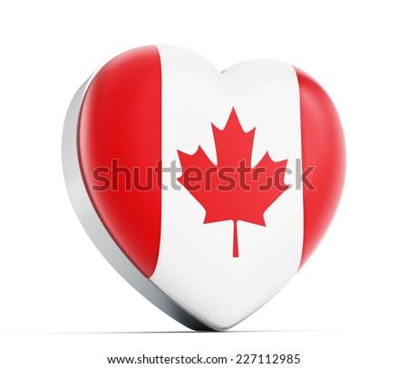 I love Canada heart shaped Canadian flag. - stock photo