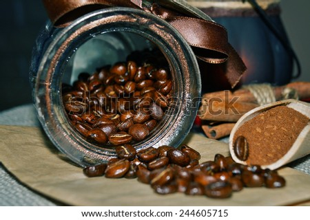 I love coffee - beans and ground coffee, caramel flavor - stock photo
