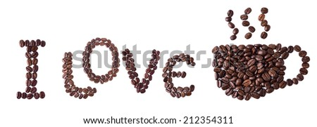 I love coffee (coffee beans in shape of massage) on white - stock photo