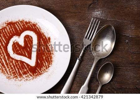 I love eat.Seasonal table valentines day set background. - stock photo