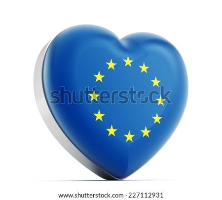 I love European Union heart shaped EU flag. - stock photo