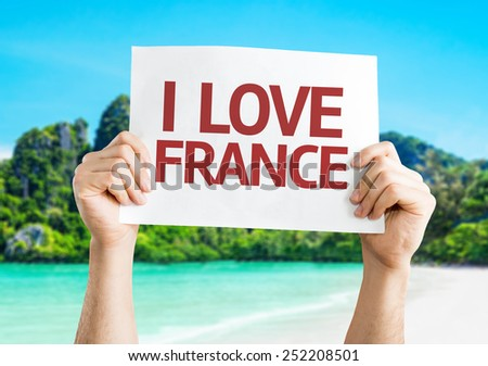 I Love France card with beach background - stock photo