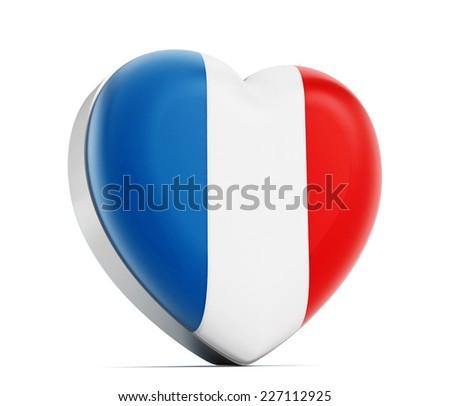 I love France heart shaped French flag. - stock photo