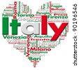 I Love Italy - Written Italy and Italian cities with heart-shaped, Italian flag colors - stock photo