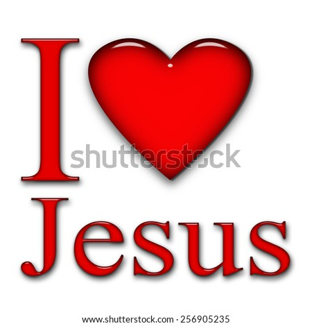 I love Jesus, font, heart and white background - stock photo