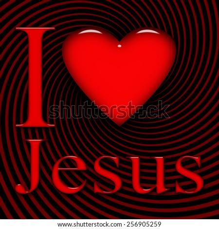 I love Jesus, font, heart with red and black background - stock photo