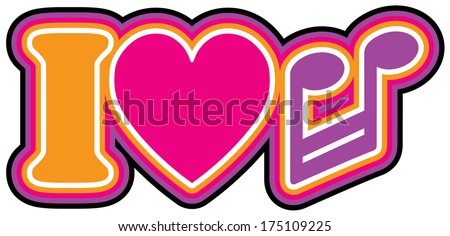 I Love Music Retro style iconic design of the letter I, heart and barred note symbols in pink, violet, yellow, black and white outlines. - stock photo
