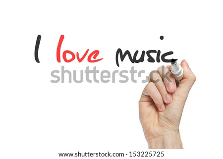 I love music written by hand on whiteboard - stock photo