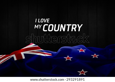 I Love My Country New Zealand flag and wood background - stock photo