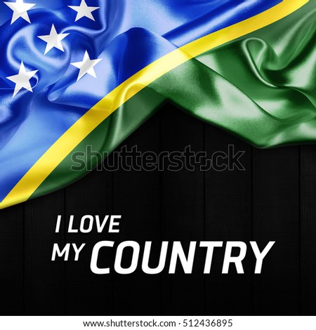 I Love my Country Solomon Islands Abstract Flag. 3d illustration