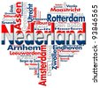 I Love Nederland (Netherlands) / Written Nederland and Dutch cities with heart-shaped, Dutch flag colors - stock photo
