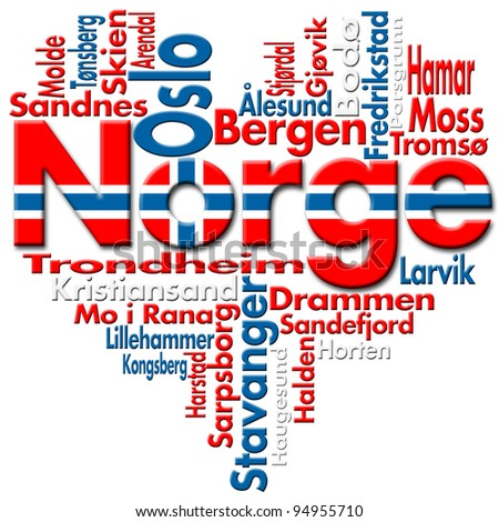 I Love Norge (Norway) Written Norge and norwegian cities with heart-shaped, norwegian flag colors - stock photo