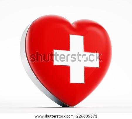 I love Switzerland heart shaped Swiss flag. - stock photo