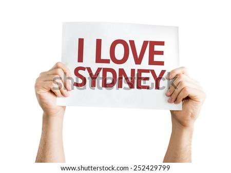 I Love Sydney card isolated on white background - stock photo