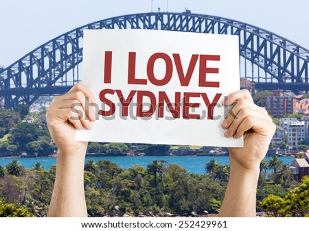 I Love Sydney card with Harbour Bridge background - stock photo