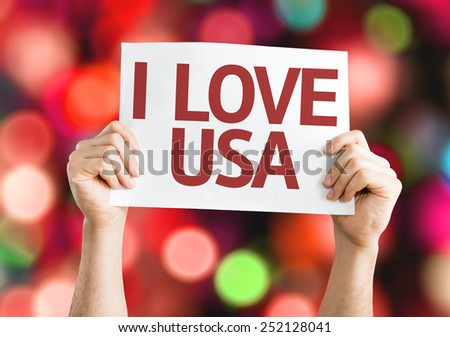 I Love USA card with colorful background with defocused lights - stock photo