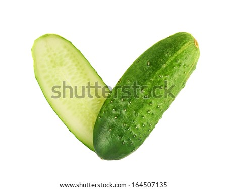 I love vegetables conception as a two cucumber halves forming a heart shape composition isolated over white background - stock photo