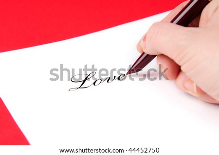 I love written on the white sheet of paper. - stock photo