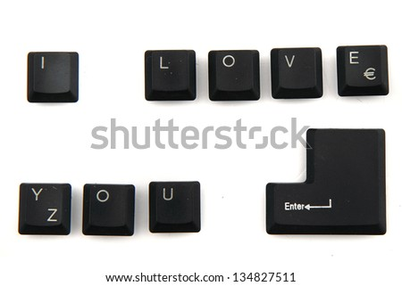 I love you - alphabet, numbers,  keyboard keys combined in a single image