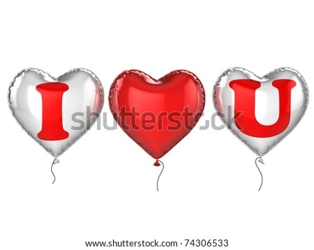 i love you balloons 3d illustration - stock photo