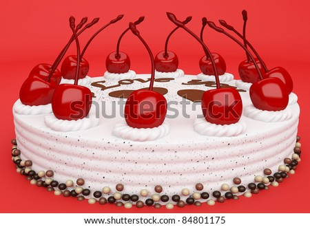 I love you: cake with cherries on red background