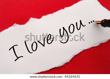 I love you card on red background - stock photo