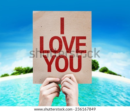 I Love You card with a beach on background - stock photo