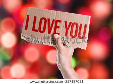 I Love You card with colorful background with defocused lights - stock photo