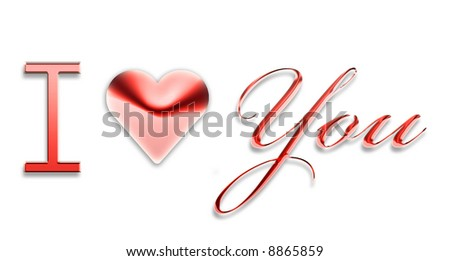 I Love You 3d text writing logo - stock photo