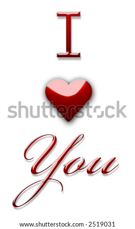 I Love You 3d text writing sign - stock photo