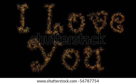 I Love You formed from plants - stock photo
